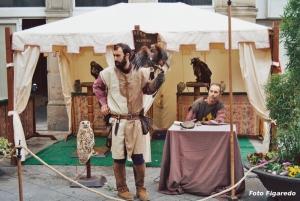 Exhibición de cetrería en fiesta medieval de Monforte de Lemos. Foto Figaredo, Gijón