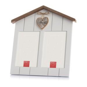 marco para 2 fotos, con forma de casa y corazón. Foto Figaredo, Gijón