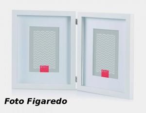 marco madera blanca para dos foto 10x15, con bisagra. Foto Figaredo, Gijón