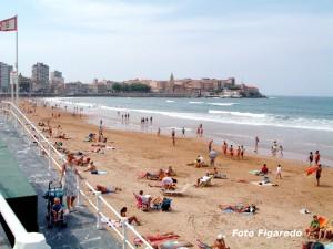 Playa de San Lorenzo, zona este. Foto Figaredo, Gijón